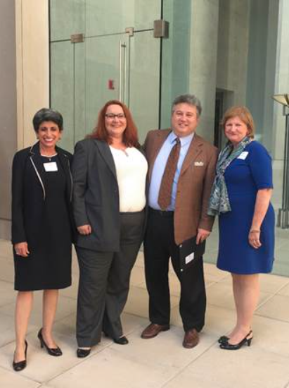 State Bar President-Elect Augusta Dowd, Christine Frieder, Bill Uemura, Acting Chief Justice Lyn Stuart